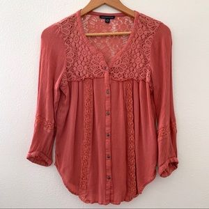 American Eagle crochet coral buttoned long sleeve